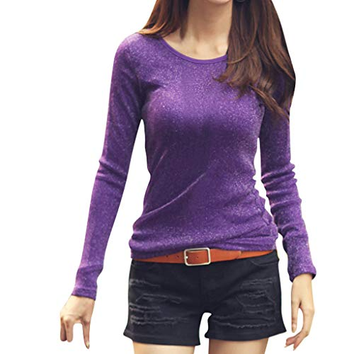 DAYPLAY Fashion Womens Long Sleeve Plus Velvet Round Neck Stretch Casual Bottoming Tops 2019 Sale (Purple, S)