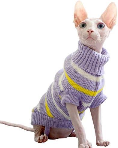 Bonaweite Hairless Cats Stripe Vest Turtleneck Sweater, Breathable Adorable Cat Wear Shirt Clothes, Cat's Pajamas Jumpsuit for Sphynx, Cornish Rex, Devon Rex, Peterbald 19