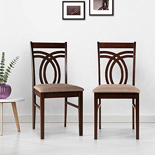 HomeTown Stella Solid Wood Dining Chair Set of Two in Dark Walnut Colour