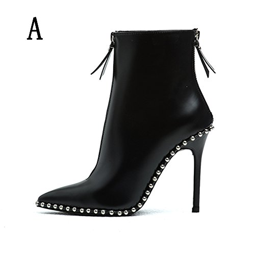 (Women's High Heel Ankle Shoe Zip up Sexy Pointed Toe Genuine Leather Black Short Boots (7,)