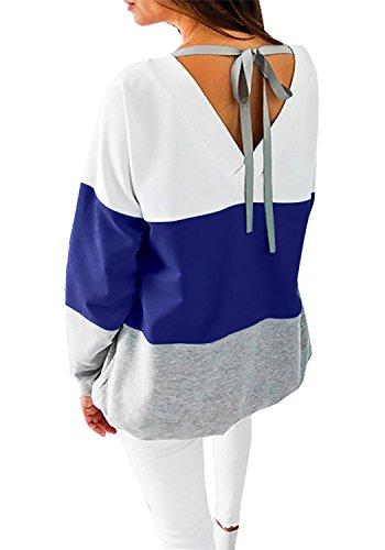 Women's Casual Crew Neck Long Sleeve Shirt Color Block Sweatshirt Blouse Tops (X-Large, Navy)