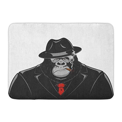 Casual WmT Doormats Bath Rugs Outdoor/Indoor Door Mat Red Gorilla Monkey in Suit Gangster Mafia Cigar Hat Funny Ape Bathroom Decor Rug 16 24 inch;