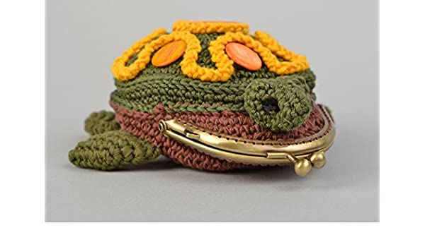 Monedero tejido a ganchillo de algodon multicolor tortuga ...