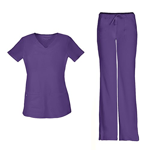 HeartSoul Women's Pitter-Pat Shaped V-Neck Top 20710 & HeartBreaker Drawstring Pant 20110 Scrub Set (Grape - - Bottoms Scrubs Purple