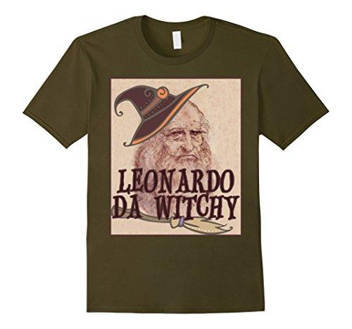 [Mens Leonardo Da Vinci Funny Da Witchy Halloween Art T-Shirt Small Olive] (Creative College Halloween Costume Ideas)