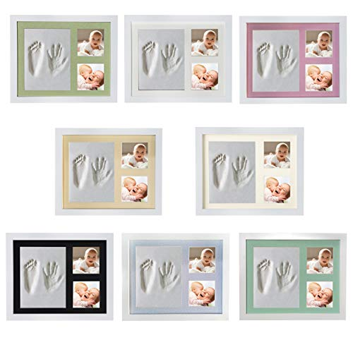 Veahma Baby Quality Clay Imprint Kit! White Wood Frame (Yellow) Mat|Non-Toxic Clay|Hand/Foot Print Kit|Baby Shower Gift for New Born Baby, Boy, Girl, Pet, Parents! Newest No Mold Version!