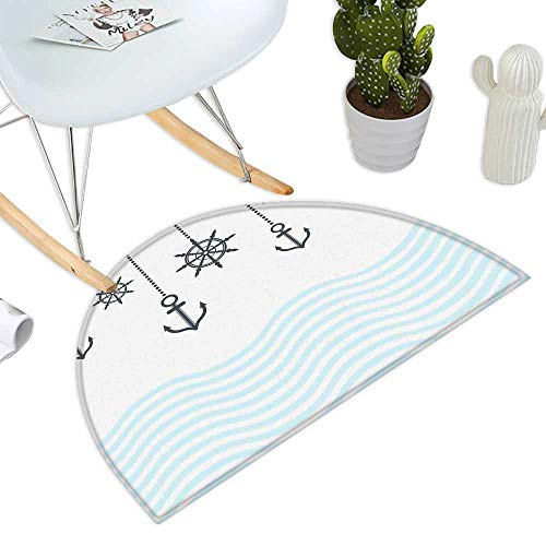Anchor Semicircle Doormat Anchors with The Chains on Top of The Ocean Waves Be Strong in Difficulties Theme Bathroom Mats Half Moon H 35.4