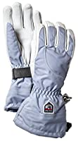 Hestra Womens Extra Warm Ski Gloves: Heli Leather Winter Cold Weather Powder Gloves, Ice Blue/Off White, 6