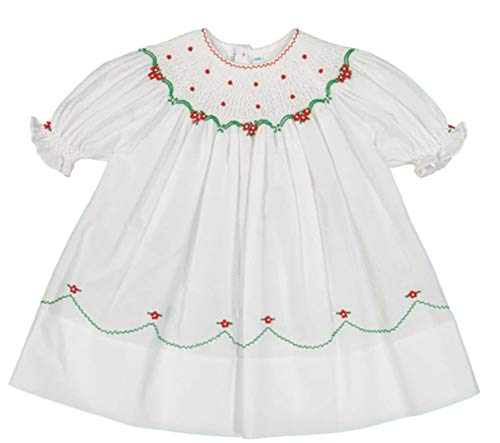 (Feltman Brothers Girls White, Red, Green Smocked Christmas Dress)