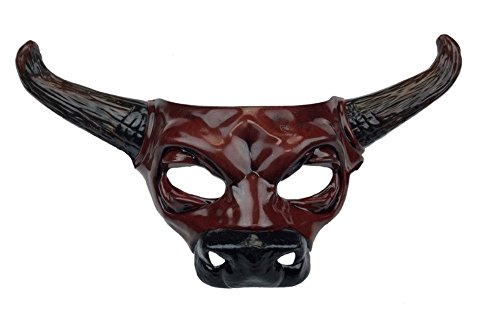 Red Bull Skull Half Mask Adult Horns Cow Spirit Animal Halloween -