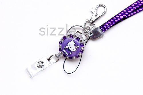 (Set of Purple Rhinestone Lanyard and Hello Kitty Id Badge Reel)