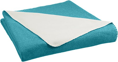 AmazonBasics Reversible Fleece Blanket - King, Teal/Cream
