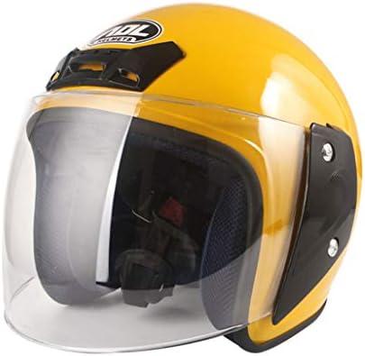 NJ ヘルメット- オートバイの電動ヘルメットの男性と女性の四季のHD防曇ヘルメット (色 : 黄, サイズ さいず : 26x22x20cm)