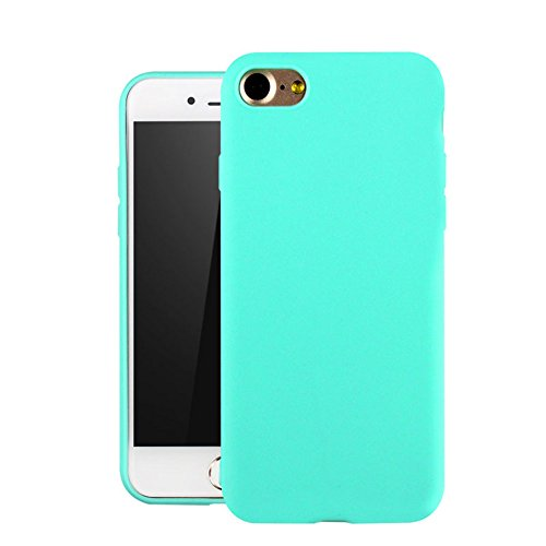 iPhone 7 Case, Full Matte Soft Touch Slim Fit Flexible Mint Green Silicone Case TPU Soft Gel Rubber Cover Resistance Protective Back Bumper for Apple iPhone 7 4.7 inch