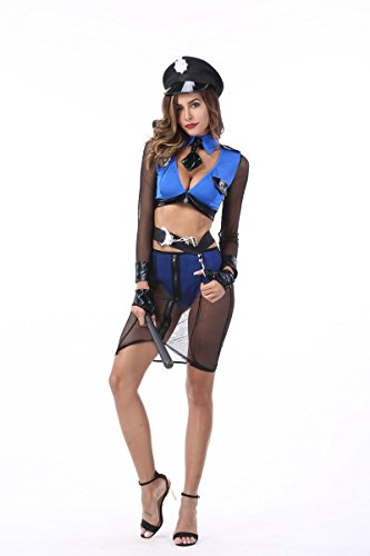 Halloween Costume Berser Sexy Hot Cop Seductive Policewomen Model Cosplay Club -