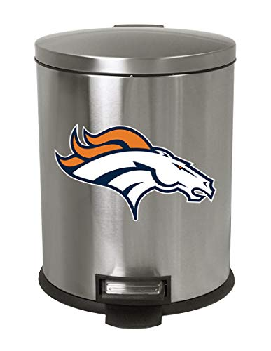 The Furniture Cove 1.3 Gallon Oval Stainless Steel Step Trash Can Waste Basket Featuring Your Favorite Football Team Logo! (Broncos) ()