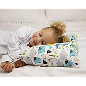 PharMeDoc Toddler Pillow for Kids 14 x 19 inch – No Pillowcase Needed – Machine Washable