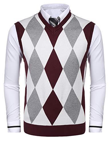 COOFANDY Men's Casual Slim Fit V-Neck Rhombus Business Knitwear Sweater Vest by COOFANDY