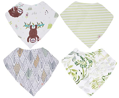 Posh Peanut Baby Bandana Bibs for Drooling and Teething, 100% Organic Cotton and Super Absorbent Hypoallergenic Cloth for Baby Boys and Girls, Baby Shower Gift Set of 4 (Over The Mountain Tops)