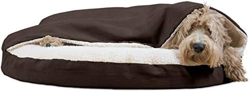 Furhaven Pet Dog Bed Orthopedic Round Cuddle Nest Snuggery Burrow Blanket Pet Bed w Removable Cover for Dogs Cats – Available in Multiple Colors Styles
