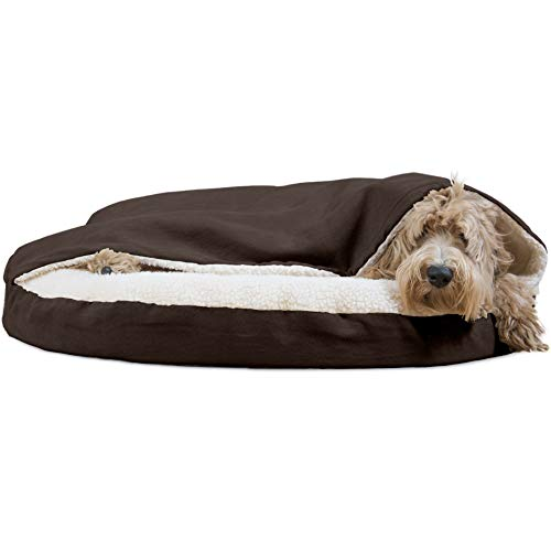 Furhaven Pet Dog Bed | Orthopedic Round Cuddle Nest Faux Sheepskin Snuggery Burrow Pet Bed for Dogs & Cats, Espresso, 35-Inch