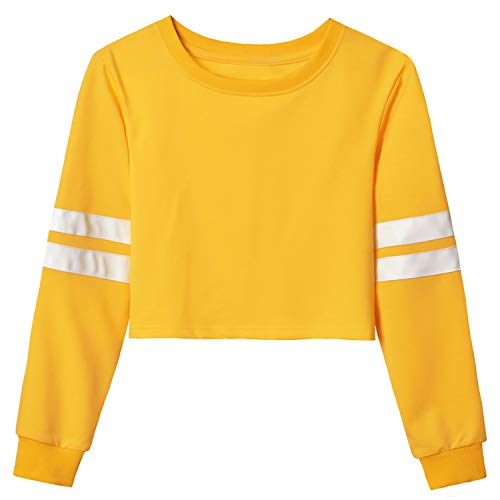 (Mirawise Yellow Cropped Sweatshirt for Women Loose Fit Crop Tops Blouse )