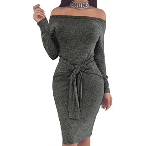 Coolred Grey Pure Off Slim Dresses Women Shoulder Hip Package Color Bandage Dark gxPXxUn