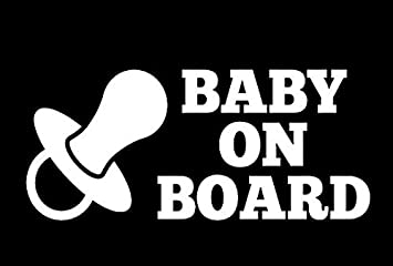 """Black OR Silver BABY ON BOARD 5.5/"""" x 3.5/"""" Decal for cars trucks motorcycles"""