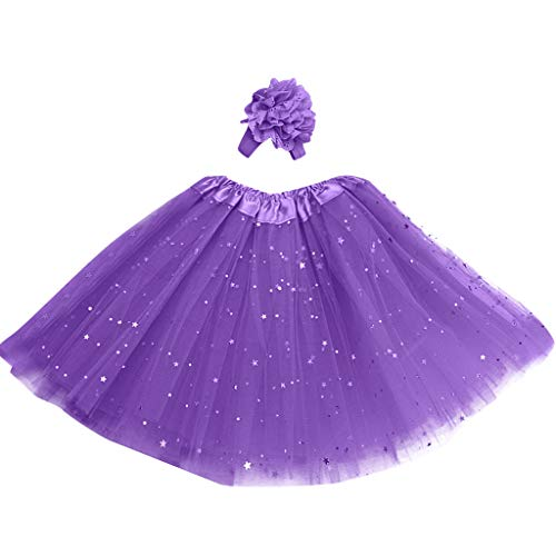 (Toddler Sundress with Hat,Kids Girl Petticoat Paillette Star Pettiskirt Hair Band Tutu Skirt Dancewear,Purple,3-8T)