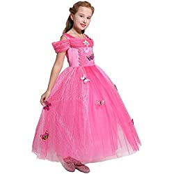 Dressy Daisy Girls' Princess Aurora Costume Princess Dress Halloween Fancy Dress up Size 4/5