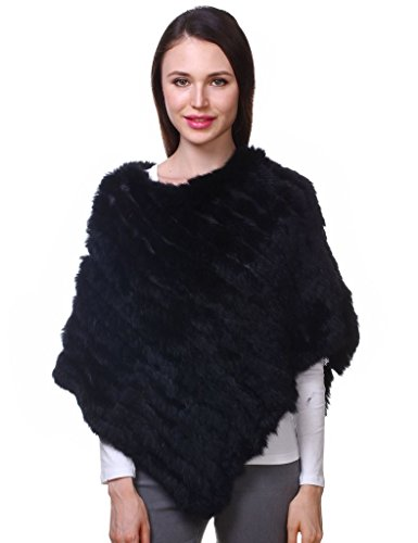 Knitted Rabbit (Ferand Ladies Genuine Knitted Rabbit Fur Poncho Cape Shawl For Women, Black)