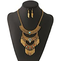 Ikevan Hot Selling Retro Multilayer Alloy Tassel Leaves Necklace Earring Set Sweater Chain Jewelry Accessories for Women Girls