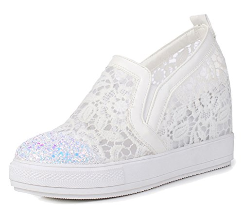 HiEase Women's Glitter Paillette Slip On Loafers Shoes Outdoor Fitness Wedges Mesh Dress Sneakers Size 4-12 (10.5, White)
