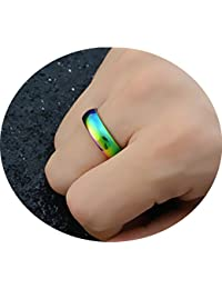 6MM Rainbow Wedding Bands Classic Titanium Stainless Steel Colorful Promise Band Rings Size 6-12