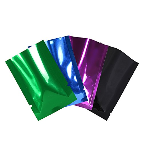 """Variety Sizes Mixed Colors Sample Pack Flat Open Top Resealable Tear Notch Mylar Bags (200 Bags/Pack) (1.6"""" x 2.4"""", Double-Sided Glossy)"""