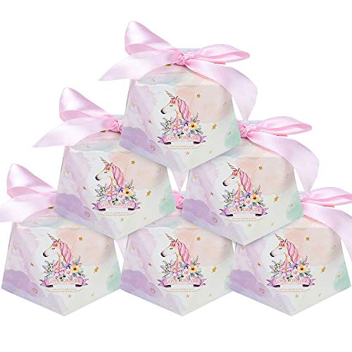 (24 pcs Lovely Pink Unicorn Shape Candy Boxes, UnicornParty Supplies, Wedding, Baby Showers, Kids Birthday Party Decoration)
