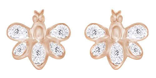 (0.05 cttw) Butterfly Stud Earrings In 10k Rose Gold With Round Cut White Natural (White Gold Diamond Butterfly Pin)