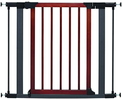 MidWest Homes for Pets Steel Pet Gate w Textured Graphite Frame Decorative Wood Door 29 or 39 Inches Tall Fits Doorways 29.5 – 38 Inches Wide
