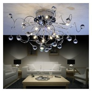 Modern Crystal Chandelier With 11 Lights Ceiling Light Dining Room Living Amazoncouk Lighting