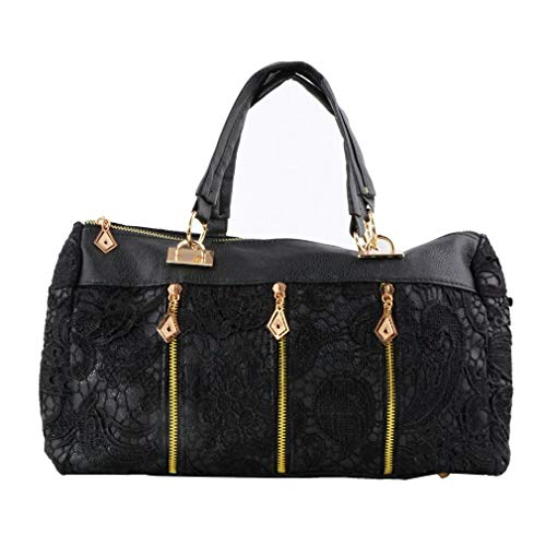 Refago Lace Carry with Handbag to Easy Elegant Black Messenger Bag Bag Use Roomy Dual Space rvnfrgZ5w