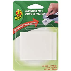 Duck Brand Permanent Foam Mounting Tabs, Double-Sided, 60-Count, White (297472)