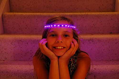 Pink Glowbys Hair Accessory (Glowby Bandz Light Strips for Headband, Wristband, Necklace, Anklet- Black Strip Pink LEDs)