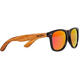 Woodies Zebra Wood Sunglasses with Mirror Polarized Lens for Men and Women 29 Handmade from REAL Zebra Wood (50% Lighter than Normal Sunglasses) Includes FREE Carrying Case, Lens Cloth, and Wood Guitar Pick Polarized Lenses Provide 100% UVA/UVB Protection