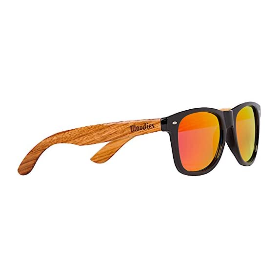 Woodies Zebra Wood Sunglasses with Mirror Polarized Lens for Men and Women 1 Handmade from REAL Zebra Wood (50% Lighter than Normal Sunglasses) Includes FREE Carrying Case, Lens Cloth, and Wood Guitar Pick Polarized Lenses Provide 100% UVA/UVB Protection