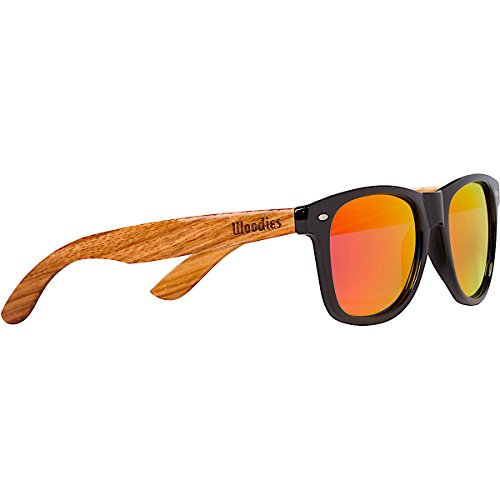 WOODIES Zebra Wood Sunglasses with Red Mirror Polarized Lens