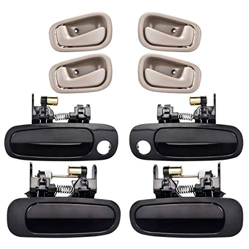 FAERSI 8Pcs Exterior Interior Door Handles Front and Rear Left Driver Side & Right Passenger Side Door Handle Replacement Set for 1998 1999 2000 2001 2002 Toyota Corolla Chevrolet Prizm ()