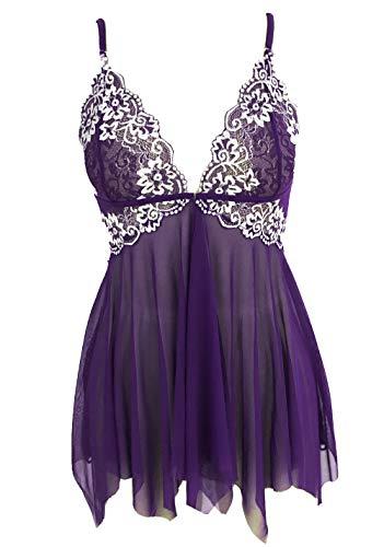 Avidlove Women Lingerie Lace Babydoll V Neck Nightwear Strap Chemise Purple M (Asymmetrical Draping)