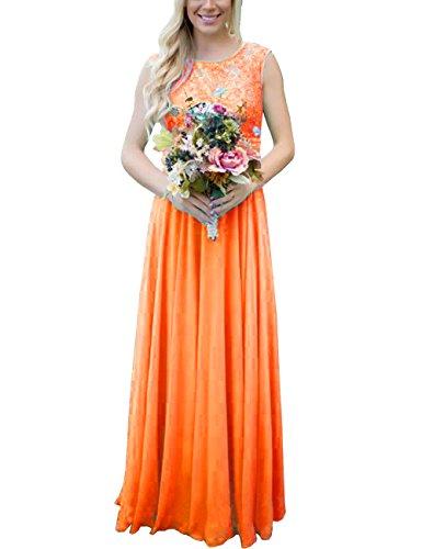 Les Paillettes De Dentelle Robe De Demoiselle D'honneur Longue Des Femmes Dys Ramassent Robe De Soirée Formelle V Dos D'orange