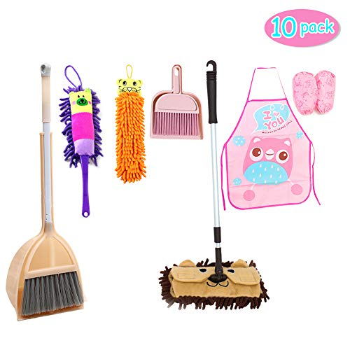 10 Pack Cleaning Set Kid's Housekeeping Tools Kitchen Toys,Includes Mop Broom,Dust-pan,Brush,Apron,Rag,Chenille Duster Boy Girl Career Role Play