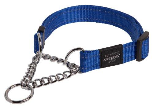 ROGZ Reflective Nylon Choke Collar; Slip Show Obedience Training Gentle Choker for Extra Large Dogs, Blue
